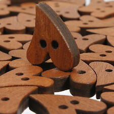 100 PCS Brown Wooden Sewing Heart Shape Button Craft Scrapbooking 20mm Showy