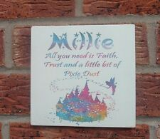 Shabby vintage chic all you need is faith trust pixie dust personalised plaque