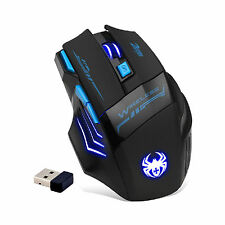 PC Professional LED 2400 DPI Adjustable 7 Button USB Wireless Gaming Mouse Mice