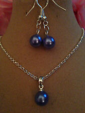 "Pearl Set Midnight Blue/STERLING SILVER NECKLACE18""&925 EARINGS,BOXED"