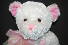 "White Pink Soft Floppy TEDDY BEAR Hearts Bow 17"" Plush Stuffed Animal Toy Lovey"