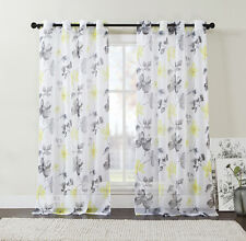 Extra Long Two (2) Piece Sheer Grommet Window Curtain Panels:Yellow, Black, Gray