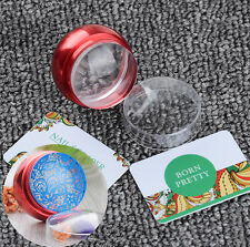 3Pcs/set Clear Jelly Head Red Metal Nail Art Stamper with Cap & 2 Scrapers