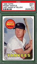 1969 Topps MICKEY MANTLE #500 Yellow PSA 5.5 New York YANKEES HOF!!