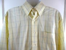 Brooks Brothers Dress Shirt 16 33 Yellow Windowpane Checked Long Sleeves No Iron