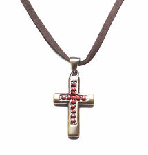 Traditional  Brown, Antique Bronze & Red Stone Cross Pendant Necklace(Zx90)
