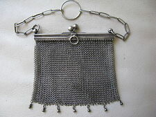 Antique Victorian 800 Sterling Silver Finger Ring Chatelaine Mesh Purse #57