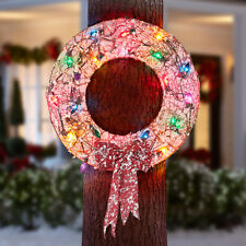 Gemmy 29.9 in Pre-Lit Wire Artificial Christmas Wreath with Multicolor Lights
