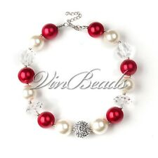 Red White Pearl Beads Chunky Bubblegum Gumball Kids Girl Necklace Gift Jewelry