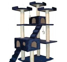 "NEW Deluxe Cat Tree 72"" Scratching Post Condo House Tower Toy Pet Furniture Blue"