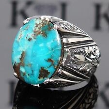 925 Sterling Silver men's ring with Turquoise Firoza unique handcrafted jewelry
