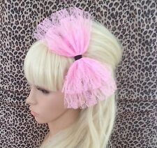 BIG PALE SUGAR PINK LACE BOW ALICE HAIR HEAD BAND 80s RETRO PARTY FANCY DRESS