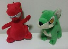"""Neopets~Lot of 2~1 Green Lupe Wolf Dog and 1 Red Dinosaur PlushToy McDonalds 4"""""""