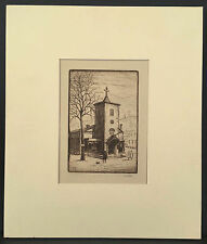 1918 BERNHARDT WALL Etching New York City Greenwich Village ST. LUKE'S CHAPEL