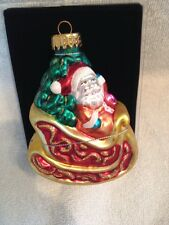 Vintage Hand Crafted Glass Glittery Ornament- Santa On Sled  in Plastic Box