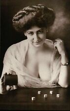 """ Winning Miss "" ca. 1900 Saloon Girl with Dice, Old Wild West Gambling Postcard"