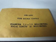 OPTICAL DOUBLE CONVEX LENS 7.5 X 7.5mm FL 24 mm LASER OPTICS BIN#34