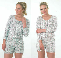 ADULTS WOMENS LADIES  SHORT long sleeve pyjamas   ONESIE  ALL IN ONE PLAYSUIT