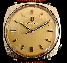 Bulova Accutron 218 10k rolled gold plated watch with new matched leather band
