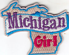 """MICHIGAN GIRL""- Iron On Embroidered Patch/ State Shape/Words, Names, Sayings,"