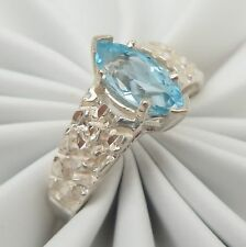 Kababa Blue Topaz Nugget Texture Sterling Silver Ring Size 6 December Birthstone