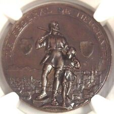 Swiss 1898  Ancient Bronze Medal Shooting Fest Neuchatel R-975b NGC MS62 Rare