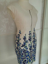 Karen Millen White Blue Butterfly Zip Dress UK 12
