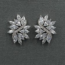 18K White Gold Plated Cubic Zirconia CZ Flower Wedding Bridal Stud earrings 8181