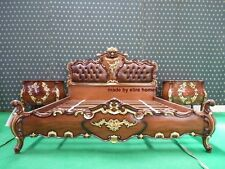 BESPOKE Designer luxury Chatelet® Bed Handmade fr mahogany wood gold & leather