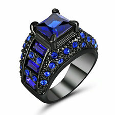 Jewelry Size 6 Mens 18k Black Gold Filled Blue Sapphire Anniversary Bridal Rings