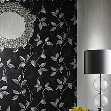 Arthouse Capriata Black and Silver Leaf Wallpaper 290300 Heavyweight Vinyl