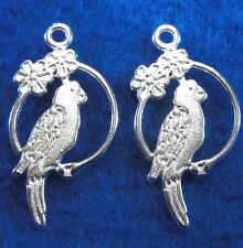 50Pcs. WHOLESALE Tibetan Silver-Plated BIRD ON SWING Charms Earring Drops Q0289
