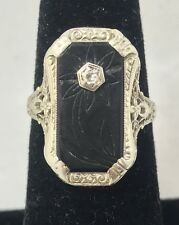 Carved Onyx Diamond Accent Filigree 14K White Gold Ring Size 7.25