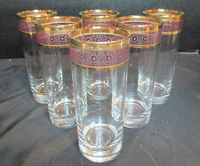 "Crystal Gold Gilt & Pink Or Rose Colored Band 6 Tumblers Stunning 6 1/2"" Tall"