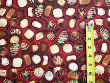 Chocolate Candy The Sweet Shop on Red BY YARDS Robert Kaufman Cotton Fabric