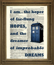 DOCTOR WHO TARDIS PRINT: Dictionary Art Wall Hanging With Dreams Quote