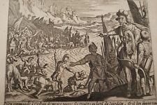 GRAVURE SUR CUIVRE SOLDATS GEDEON JOURDAIN -BIBLE 1670 LEMAISTRE DE SACY  (B63)