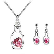 JEWELLERY BY CORNELIUS BOTTLE EARRING AND NECKLACE SET PINK SWAROVSKI CRYSTAL