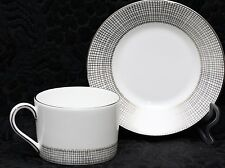 WEDGWOOD VERA WANG GILDED WEAVE PLATINUM Fine Bone China Low Cup & Saucer Set