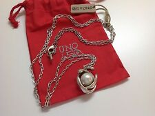 "NWT Uno de 50 Silvertone Chain Necklace and Faux Pearl 40""  ""In orbit"" $199"