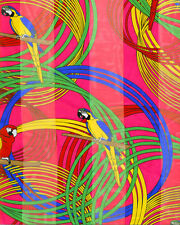 """Pink Macaw Parrot Bird Tropical Poly Satin Striped Summer Scarf Wrap 13"""" x 60"""""""