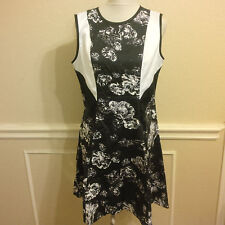 PRABAL GURUNG Target 14 XL black white gray floral dress stretchy