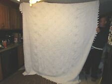 """VINTAGE CHENILLE BEDSPREAD  White with pom poms 89"""" wide x 100"""" long  - NAT"""