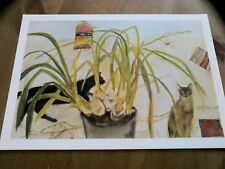 Cats and Orchid by Elizabeth Blackadder Postcard Printed Art Card Dated 1979