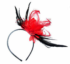 Stunning Red and Black Fascinator Headband for Special Events