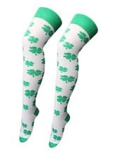 WHITE AND GREEN SHAMROCK OVER THE KNEE SOCKS ADULT SIZE FOR ST. PATRICK'S DAY.