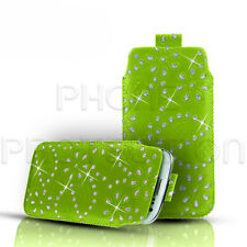 DIAMOND BLING PU LEATHER PULL TAB SKIN CASE POUCH FOR VARIOUS MOBILES/PHONES