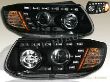 FOR 2007-2012 R8 STYLE  HYUNDAI SANTA FE SE GLS LED PROJECTOR HEADLIGHTS BLACK