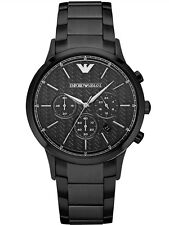 NEW EMPORIO ARMANI AR2485 MENS BLACK CHRONOGRAPH WATCH - 2 YEAR WARRANTY