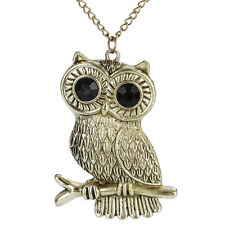 New Women Charm Silver Plated Owl Long Chain Pendant Lovely Necklace Gift